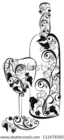 Stylized wine bottle and wine glass - stock vector
