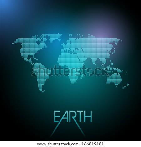 Stylized world map, eps10 vector - stock vector