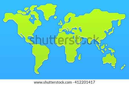 Stylized world map modern flat vector stock vector 412201417 stylized world map modern flat vector illustration gumiabroncs Image collections