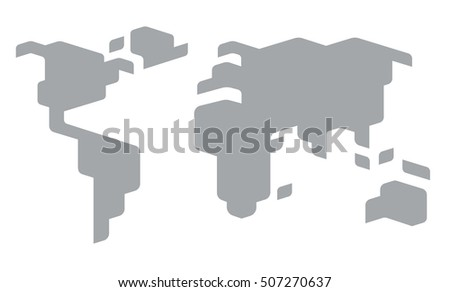 Stylized world map vector illustration simplified stock vector stylized world map vector illustration simplified continent outlines gumiabroncs Choice Image