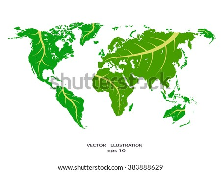 Stylized world map with eco infographic elements. Vector eps10 - stock vector