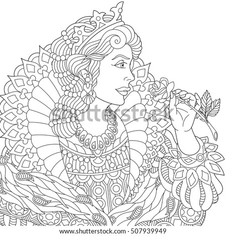 Stylized Young Beautiful Queen Princess In A Crown Is Holding Rose Flower Freehand