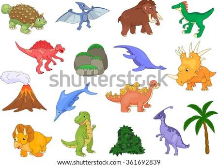 Styracosaurus, spinosaurus, ichthyosaur, tyrannosaur, pterodactyl, triceratops, pliosaur, stegosaurus, mammoth, volcano and palm. Vector illustration - stock vector