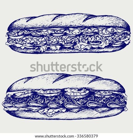 Sub Sandwich with sausage, cheese, lettuce and tomato. Isolated on blue background. Vector silhouettes - stock vector