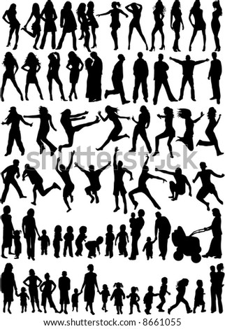 Subject People Silhouettes - Big Collection - stock vector