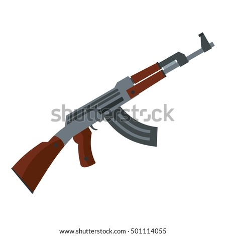 Submachine gun icon. Flat illustration of machine gun vector icon for web design