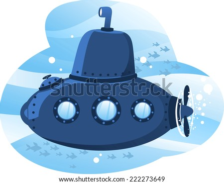 Submarine cartoon illustration