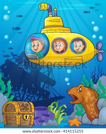 Submarine theme image 5 - eps10 vector illustration. - stock vector