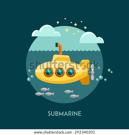 Submarine. Vector illustration. - stock vector