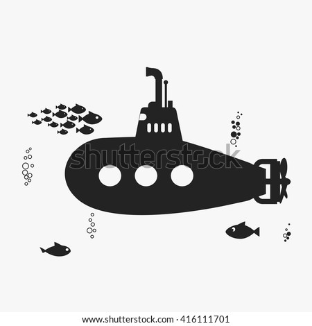 Submarine with periscope, underwater Submarine, fishes and bubbles. Black color Submarine silhouette, Submarine Flat design. Vector Submarine bathyscaphe icon, Submarine web picture - stock vector