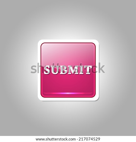 Submit Glossy Shiny Square Vector Button - stock vector