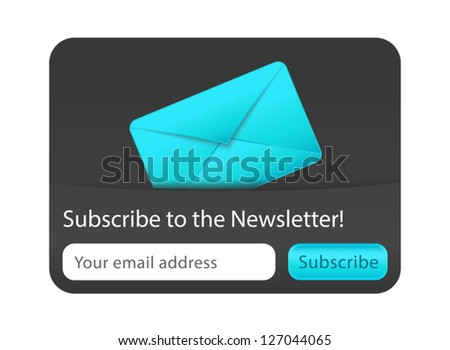 Subscribe to newsletter web form with blue letter - stock vector