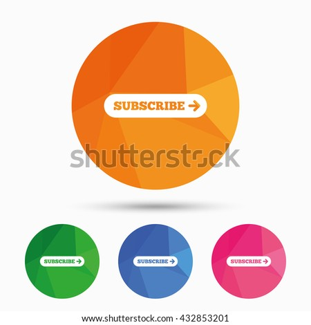 Subscribe with arrow sign icon. Membership symbol. Website navigation. Triangular low poly button with flat icon. Vector - stock vector
