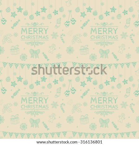 Subtle Colorful Xmas Doodle Christmas Seamless Background Pattern. Hand Drawn Vector Illustration. Pattern Swatches - stock vector