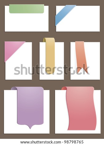subtle gradient pastel tabs and corners, no transparencies - stock vector