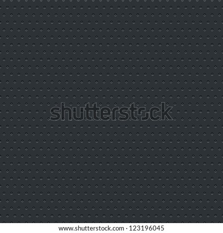 Subtle pattern seamless texture perforated circular hole black metal tile surface dark gray background. Clip-art vector illustration web design elements saved 8 eps. Contemporary swatch modern style - stock vector