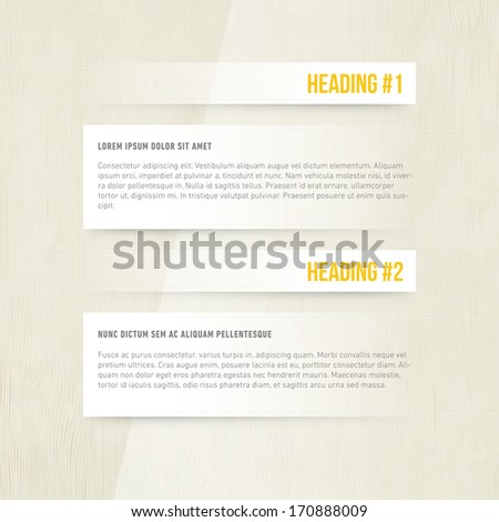 Subtle Presentation Design | Heading and Paragraph | Blog Template | EPS10 Graphic - stock vector