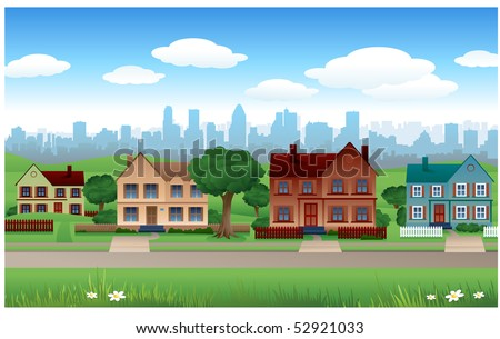 Suburb vector background - stock vector