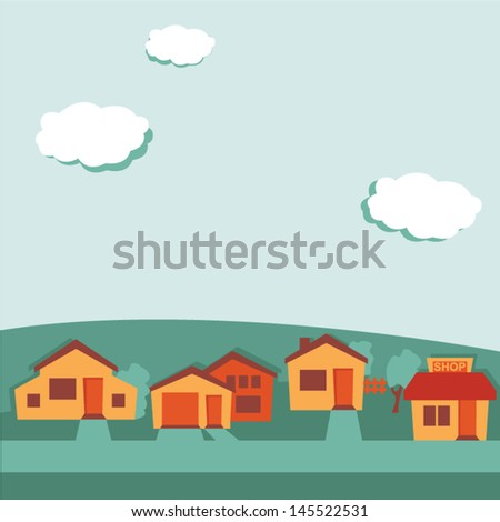 Suburban background, retro colored - stock vector
