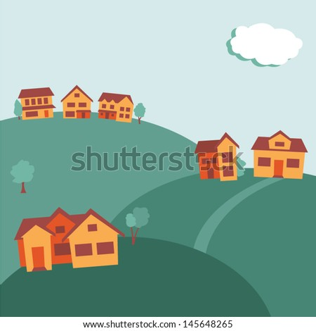 suburban background with space for type - stock vector