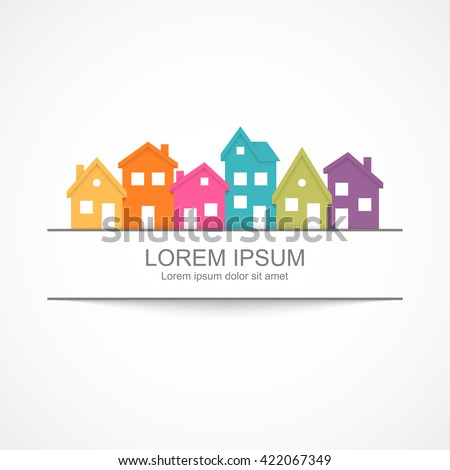 Suburban homes icon. Easy to change colors. - stock vector
