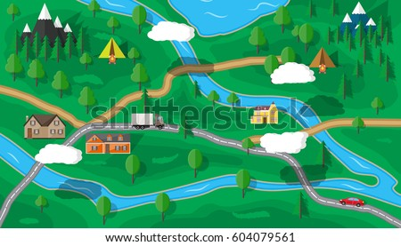 Suburban map houses car trees road stock vector 604079561 shutterstock suburban map with houses with car trees road river mountain sky gumiabroncs Choice Image