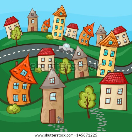 Suburbs And Houses On Background Of The Nature And Hills Stock