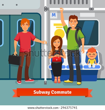 Subway commute. Young people, man and woman with kid sitting and standing in a subway train car. Flat style vector illustration. - stock vector