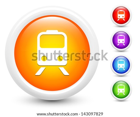 Subway Icons on Round Button Collection Original Illustration - stock vector