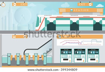 Subway railway interior, Train ticket vending machines, Railway Map, Entrance of railway station, transportation vector illustration. - stock vector