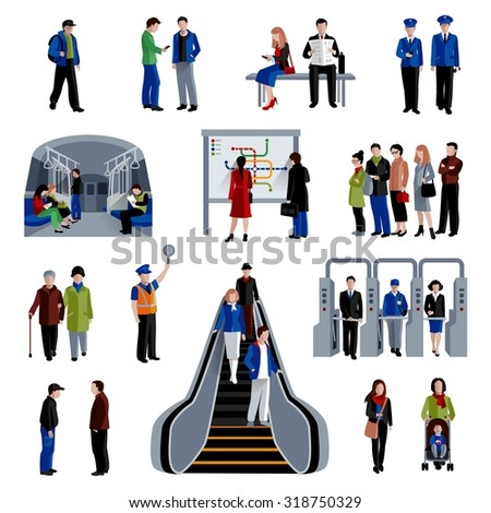 Subway rapid transit trains system flat icons set with passengers on platform flat  abstract isolated vector illustration - stock vector
