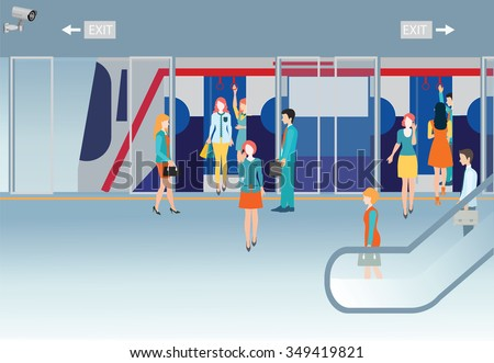 Subway train station platform with people traveling, holding smartphone, transport concepual vector illustration. - stock vector