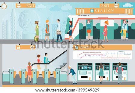 Subway train station platform with people traveling, Train ticket vending machines, Railway Map, Entrance of railway station, transportation vector illustration. - stock vector