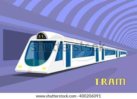 Subway Tram Modern City Public Transport Underground Rail Road Station Flat Vector Illustration - stock vector
