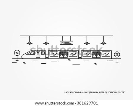 Subway (underground railway) station line vector illustration. Monorail (underground railway) station (train, railroad, platform) creative linear concept. Subway (underground railway) station design. - stock vector