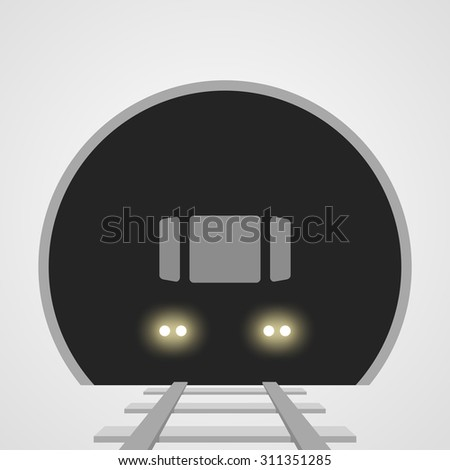 Subway underground train with lights on the railway track in the tunnel - stock vector