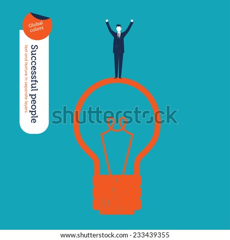 Succesful Businessman on a Bulb. Vector illustration Eps10 file. Global colors. Text and Texture in separate layers. - stock vector