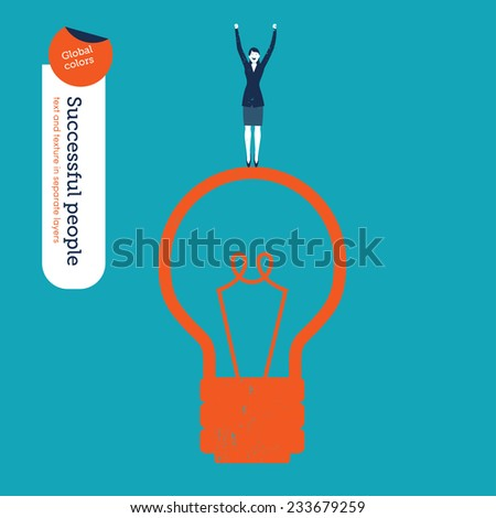Succesful Businesswoman on a Bulb. Vector illustration Eps10 file. Global colors. Text and Texture in separate layers. - stock vector
