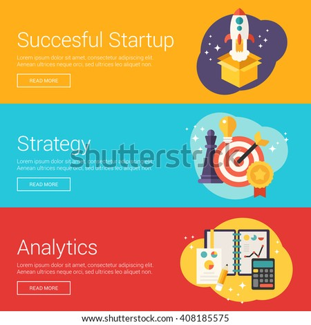 Succesful Startup. Strategy. Analytics. Flat Design Vector Illustration Concepts for Web Banners and Promotional Materials - stock vector