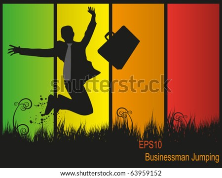 Succesfull businessman jumping in a field. Fully vector. Enjoy! - stock vector