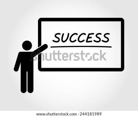 success achievement conference training leadership manager motivation strategy businessman pictogram vector icon - stock vector