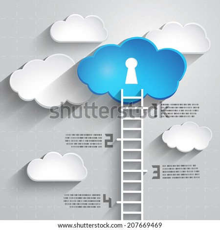 Success and Competition concept with Ladder, clouds and number, Vector EPS10 - stock vector
