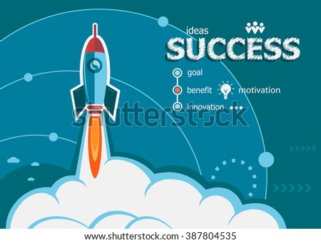 Success and concept background with rocket. Project Success concepts for web banner and printed materials. - stock vector