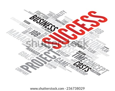SUCCESS business concept in word tag cloud, vector background - stock vector