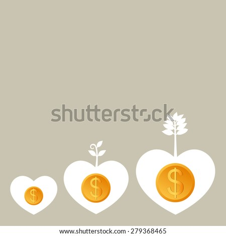 Success business from heart, Plant growing with Dollar heart, Business growing money concept. Vector illustration - stock vector