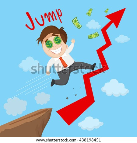 Success businessman riding on growing chart, vector  illustration cartoon