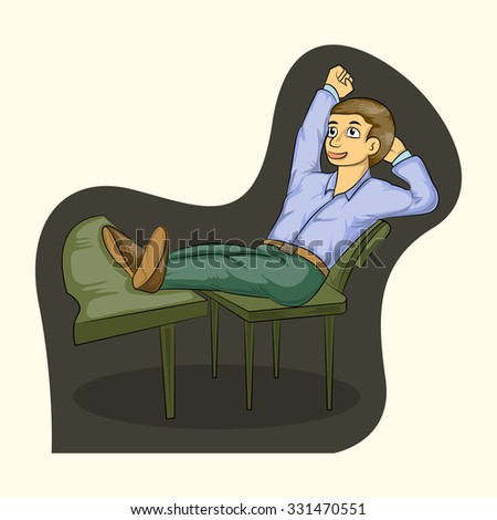 success businessman siting on chair and laying down the feet on table - stock vector