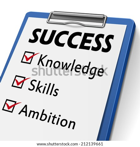 success clipboard with check boxes marked for the words knowledge, skills and ambition  - stock vector