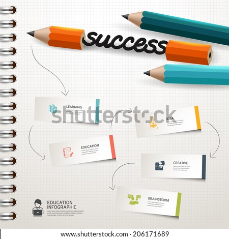 success concept infographic Design template Colorful pencil crayons and pen and magnifier with ribbon, vector illustration.  - stock vector