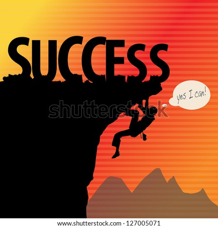 Success concept, rock climbing, vector illustration - stock vector